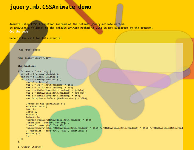 jQuery.mb.CSSAnimate - Use CSS3 transition to animate DOM Elements via jQuery