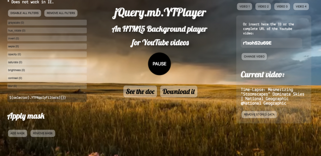 YTPlayer. Use the same background video cross pages