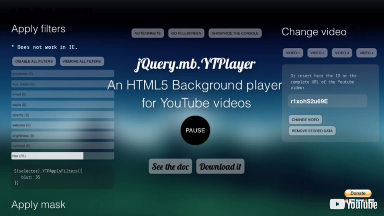 Use a Youtube video as page background on mobile | Pupunzi